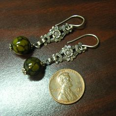 Art Deco Dangle Earrings Sterling Silver with Green by HighArt, $32.00 Donating 5 jewelry displays and some earrings to the FFCS https://www.etsy.com/shop/HighArt