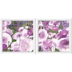 Violet Flowers Floral Wall Art, Set of 2, Purple