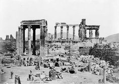 1850's Erechtheion Athens Hotel, Athens Greece, Old Pictures, Old Photos, Old Greek, Victorian Photos, Parthenon, Library Of Congress, Ancient Greece
