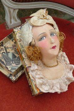 RARE Antique French Boudoir Doll Head Box Paris 1920 Silk