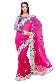Fantastic Hot Pink Designer Saree