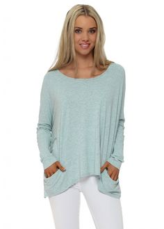 A POSTCARD FROM BRIGHTON Mojito Melange Pammy Slouch Jersey Top