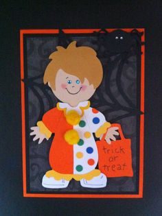 Halloween Card and Cricut Paper Doll Dress Up.  ~ both my boys were a clown for Halloween ~ I am going to use this in my scrapbook