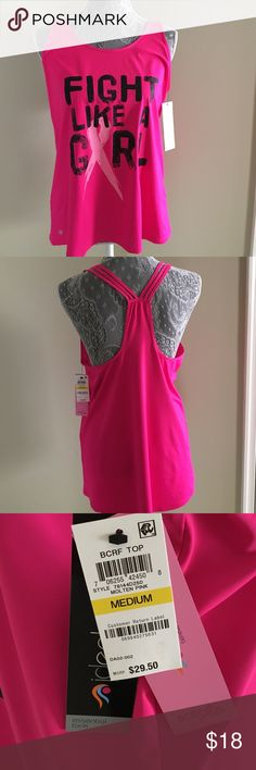"""NWT Ideology Strappy RB """"Fight Like A Girl"""" Tank NWT Ideology Strappy Racerback """"Fight Like A Girl"""" Tank. Hot Pin w/light pink and black writing. Size M Ideology Tops Tank Tops"""