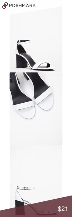 """✨New Listing✨F21 White Ankle Strap Sandals Adorable ankle strap faux leather sandals from Forever 21. Features adjustable ankle buckle strap and contrasting block heel. Super cute and comfy, these sandals can be dressed up or down. Worn a couple of times and shows minor signs of wear. Condition 9/10.   * Size 6.5 * Padded insole * 3"""" heel height * Import * Retail $24.90+tax Forever 21 Shoes Sandals"""