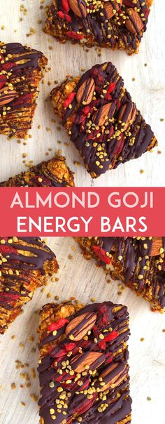 These grain-free Almond Goji Energy Bars are made of just nuts, fruit, coconut, eggs and love! (Drizzle with unsweetened chocolate if desired)