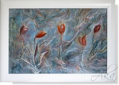 Red Tulip Painting Flower Painting Floral Landscape by AnnaKisArt Leather Art, Leather Gifts, Red Tulips, Red Flowers, Flower Wall Decor, Wall Art Decor, Tulip Painting, Wonderful Flowers, House Painting