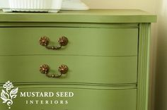 Miss Mustard Seed Milk Paint: Boxwood Used a bonding agent for a smooth vs. chippy look.  Details on her blog post.