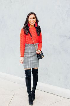 Gingham paperbag mini skirt with red cable pullover