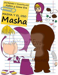 Descarga gratis nuestras plantillas para goma eva y fieltro de tus personajes de dibujos animados actuales favoritos: Masha y el Oso.