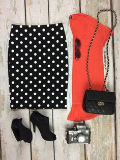 Polka Dots Pencil Skirt | SexyModest Boutique #summerstyle #springstyle #fashionblog #boutique #fashion #polkadots #pencilskirt #polkadotspencilskirt