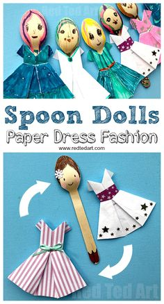 DIY Wooden Spoon Dolls - make fashion dolls with wooden spoons and origami dresses #woodenspoon #origami #dolls #fashiontrends
