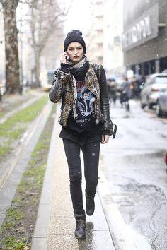 Katlin Aas exiting the Dolce & Gabbana show at Milan Fashion Week