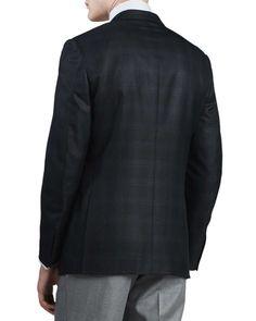 Plaid Two-Button Sport Coat, Black/Blue