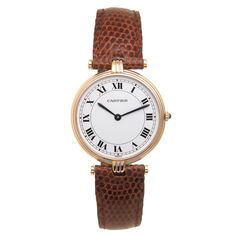 Cartier Three Color Gold Vendome Quartz Wristwatch | From a unique collection of vintage wrist watches at https://www.1stdibs.com/jewelry/watches/wrist-watches/