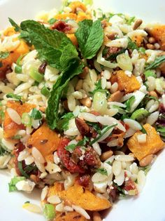 Roasted pumpkin and feta risoni salad