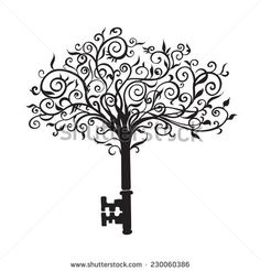 Painted patterned tree with leaves and roots as a key
