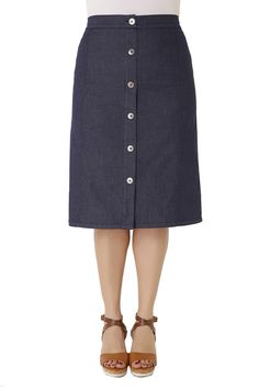 Midi denim skirt made of elastic cotton with soft texture and elastic waistband…