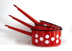 set of 3 French vintage red and white dots enamel pans