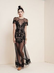 Luau Maxi Dress, Black & Nude