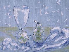 Михаил Ларионов (1881-1964) - Натюрморт с грушами и рюмкой. 1908. Бумага, гуашь. 33 x 45 см. Частное собрание