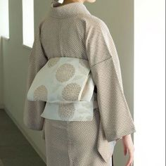 Sophisticated Komon Kimono with Understated Chrysanthemum Print Obi