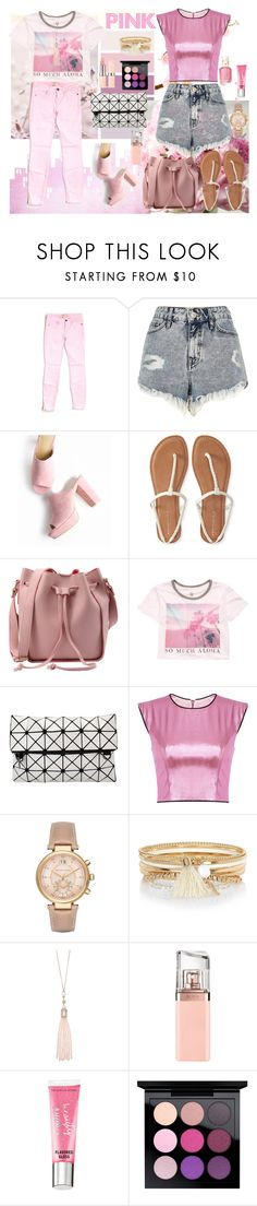 """pink summer"" by hadzihasanovi-dina ❤ liked on Polyvore featuring Current/Elliott, River Island, Aéropostale, Billabong, Michael Kors, Oasis, HUGO, Beauty Rush, Essie and MAC Cosmetics"