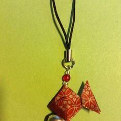Bijou de sac poisson en origami  et grelot inspiration carillon japonais