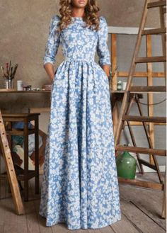 Floral Print Long Sleeve Maxi Dress on sale only US$18.05 now, buy cheap Floral Print Long Sleeve Maxi Dress at modlily.com