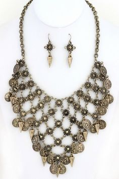 Metal 'REPUBLIQUE FRANCAISE' coin charms chain link necklace set – NanoNano