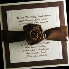 Wedding Invitation - Couture Invitation - Boxed Wedding Invitation - Embossed - Chocolate Brown Wedding - Glam Wedding - Set of 100