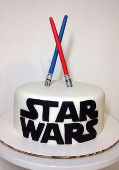 Star Wars cake with fondant light saber toppers - Star Wars Cake - Ideas of Star Wars Cake - Star Wars cake with fondant light saber toppers Star Wars Wedding Cake, Star Wars Birthday Cake, Star Wars Party, Fondant Cakes, Cupcake Cakes, Cupcakes, Bolo Star Wars, Aniversario Star Wars, Star Wars Cake Toppers