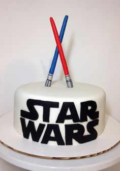 Star Wars cake with fondant light saber toppers