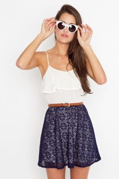Tank dress: ruffled ivory top and navy crochet skirt / ShopNastyGal.com