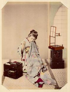 Girl Sewing by Kusakabe Kimbei