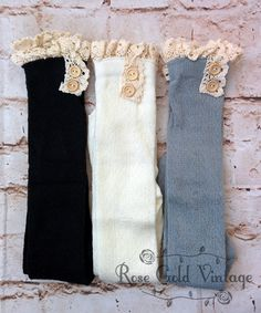 A classic winter staple - lace trim boot socks! Knee high length. These are very soft and stretchy - one size fits Women's shoe sizes 5-10. Available in Black, Off-White or Gray.                                                                                                                                                      More