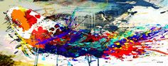 "Carlos Kubo paintings: ""Koi"" mixed media/ acrylic on canvas 80x200cm."