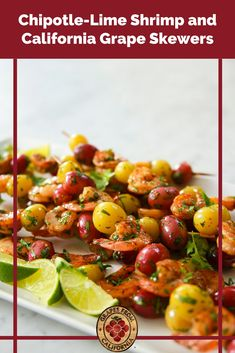Need a skewer recipe for an appetizer or dinner option? Try these chipotle-lime shrimp skewers featuring grapes from California and garlic. #shrimpskewers #shrimpskewersinoven #garlic #recipe #healthy #dinners #appetizers #meals #shrimpkabobs #kabobs #skewers #limeshrimpskewers #lime #glutenfreerecipes #glutenfreedairyfreerecipes #dairyfreerecipes #cleaneatingrecipes #paleorecipes #paleo #healthyfats Make Ahead Appetizers, Yummy Appetizers, Appetizer Recipes, Grape Recipes, Skewer Recipes, Shrimp Skewers, Kabobs, Dairy Free Recipes, Paleo Recipes
