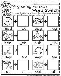 Fall Kindergarten Worksheets - Beginning Sounds Word Switch. Free Kindergarten Worksheets, Kindergarten Lesson Plans, School Worksheets, Kindergarten Literacy, Seasons Worksheets, Beginning Sounds Worksheets, Rhyming Activities, Sound Words, Rhyming Words