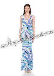 Online Emilio Pucci Blue Printed Sleeveless Tank Long Dress