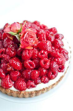 Raspberry Rose Chocolate Tart