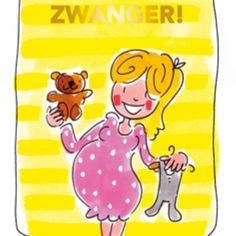 Blond Amsterdam thee kaart Zwanger (geel)