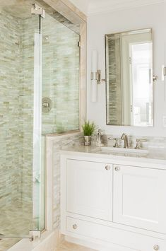 LUV the tile in the shower and the backsplash and left side wall...the lighting, etc...