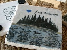 Absorbent Tile Coasters, Tranquil Loon on the Lake