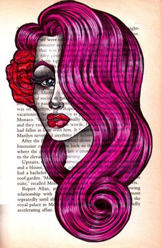 Lovely Pink Pin UP original vintage paper drawing on Etsy, $20.00  i would love to do something like this myself, but i adore my books far too much to draw in them...