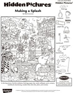 Click each link below to access activities that will provide hours of fun for students. More Printable Work Sheets . Hidden Picture Games, Hidden Picture Puzzles, Summer Camp Crafts, Camping Crafts, Fall Coloring Pages, Coloring Books, Hidden Pictures Printables, Highlights Hidden Pictures, Hidden Objects
