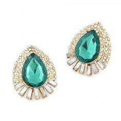 Luxurious Rhinestone Decorated Waterdrop Ear Studs - Green