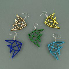 Boucles d'oreilles Poissons en bois - brut, jaune, vert, bleu - Découpe laser - Atelier Thorey
