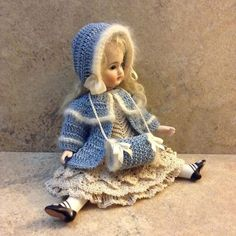 """VICTORIAN STYLE CROCHETED JACKET,BONNET AND MUFF FOR A 7""""-7 1/2"""" ALL BISQUE DOLL   #1846252892"""