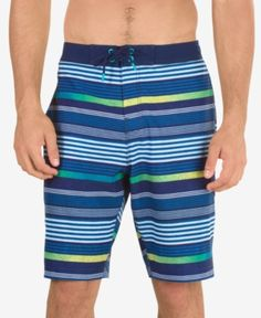 Speedo Men's Striped Swim Trunks - Blue 2XL